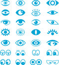 Set of cartoon eyes illustrated blue on white background Royalty Free Stock Photography