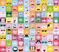 Set of cartoon faces with different emotions,vector