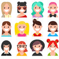 Set of cartoon faces. Girls. Part 1