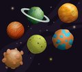 Set of cartoon fantastic planet on space background Royalty Free Stock Photo
