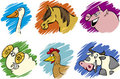 Set of cartoon farm animals Stock Image