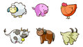 Set of cartoon farm animals illustrated isolated on white background Stock Photos