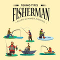 Set of cartoon fisherman catches fish sitting boat fisher threw fishing rod into water, happy fishman holds catch and Royalty Free Stock Photo