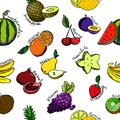 Set of cartoon fruit icons.