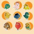 Set cartoon funny  birds characters Royalty Free Stock Photo