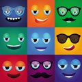 Set with cartoon funny monsters square faces in bright colors Stock Photo