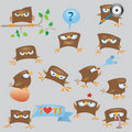 Set of cartoon funny sparrow Royalty Free Stock Images