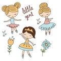 Set of cartoon girls