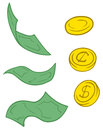 Set of cartoon greenback and coins a vector illustration Royalty Free Stock Images