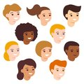 Set cartoon happy multicultural children girl and boy avatar. Cute diverse kids faces. Vector illustration