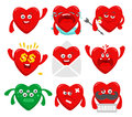 Set of cartoon heart characters Royalty Free Stock Photo