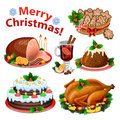 Set of cartoon icons for Christmas dinner Royalty Free Stock Photo