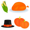 Set of cartoon icons for thanksgiving dinner is roast Turkey