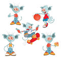Set of Cartoon Illustration. A Cute Devil for you Design. Cartoon Character Royalty Free Stock Photo