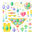 Set of cartoon jewelry accessories items vector illustration.