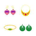 Set of cartoon jewelry accessories vector.