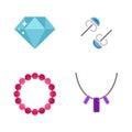Set of cartoon jewelry accessories vector.