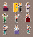 Set of Cartoon magician stickers Stock Photography