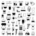 Set of cartoon mechanisms silhouettes Stock Photo