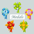 Set of cartoon medals for pet five icons Stock Photos