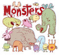 Set of cartoon monsters. vector illustration Royalty Free Stock Photo