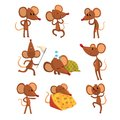 Set of cartoon mouse character in different actions. Running with sweep-net, sleeping, eating cheese, jumping, winking Royalty Free Stock Photo