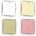 Set of cartoon notes attached pushpin eps Stock Photography