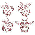 Set cartoon outline cute bees isolated on white background vecto Royalty Free Stock Photo