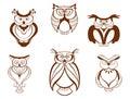 Set of cartoon owl birds isolated on white background Royalty Free Stock Photo