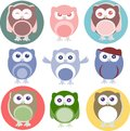 Set of cartoon owls with various emotions Stock Photos