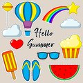 Set of cartoon patch badges. Hello Summer. Photo about clouds, rainbow, stars, glasses, watermelon, Ice cream. Vector isolated ill