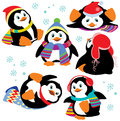Set of cartoon penguins with isolated on white background pictures for little kids Royalty Free Stock Photography