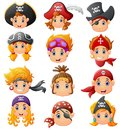 Set cartoon pirate head Royalty Free Stock Photo