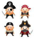 Set of cartoon pirates Stock Photos