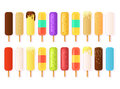 A set of cartoon rectangular ice cream icons on a stick of different types and colors.