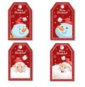 Set of cartoon red Christmas tag or label with laughing and smiling Santa Claus and snowmen. Xmas gift tag, invitation banner