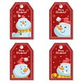 Set of cartoon red Christmas tag or label with laughing and smiling snowmen in Santa`s hat. Xmas gift tag, invitation banner, sa Royalty Free Stock Photo