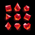 Set of cartoon red different shapes crystals Royalty Free Stock Photo