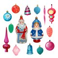 Set of cartoon retro Christmas tree decorations from USSR. Sovie Royalty Free Stock Photo
