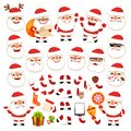 Set of Cartoon Santa Claus for Your Christmas Design or Animation Royalty Free Stock Photo