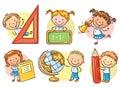 Set of cartoon school kids holding different school objects