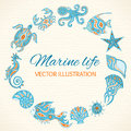 Set of cartoon sea life round frame animals vector illustration marine Royalty Free Stock Image