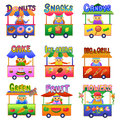 Set of cartoon shops eps file simple gradients Stock Photos