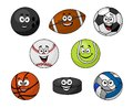 Set of cartoon sports equipment with a bowling ball rugby or football soccer ball cricket ball tennis ball basketball volleyball Stock Images