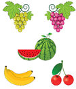 A set of cartoon summer fruit Royalty Free Stock Images