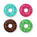 Set of cartoon sweet donuts with colorful glaze and sprinkles isolated on white background