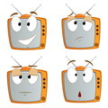 Set of cartoon tv emotional symbol Stock Photo