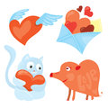 Set of cartoon valentines day romantic icons . Red flying heart, love envelope, blue kitten and heart-shaped pig.