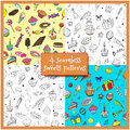 Set cartoon vector doodles hand drawn birthday party and sweets seamless patterns