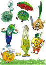 Set of cartoon vegetables /EPS Royalty Free Stock Images
